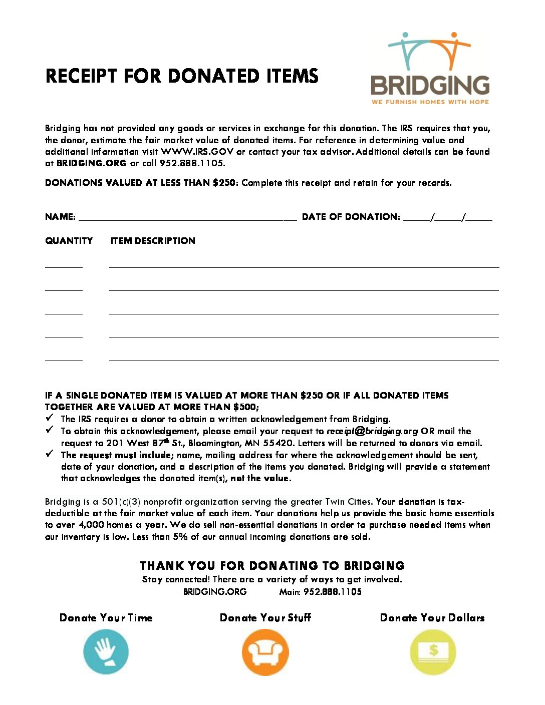 bridging item donation receipt bridging